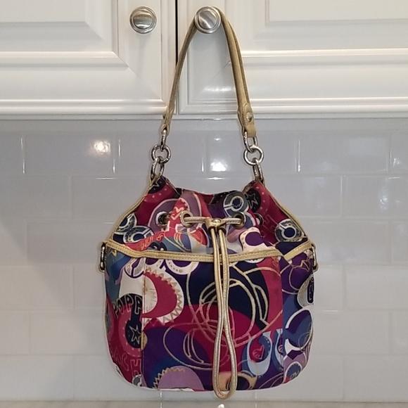 Coach Poppy Pop C Graffiti Bucket Drawstring Bag